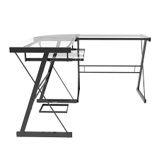 madison l shaped computer desk in black inside madison clear glass