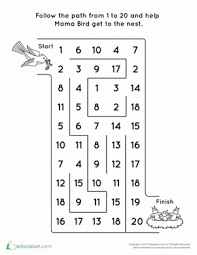 Grade 1 Counting To 20 Worksheets Counting To 20 Bird Worksheet Education Com