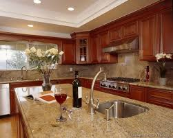 kitchen granite countertop ideas cherry kitchen cabinets with gray wall and quartz countertops ideas