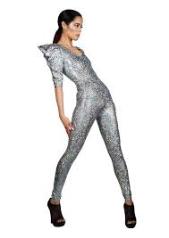 Silver Halloween Costume Signature Catsuit Silver Holographic Jumpsuit Halloween