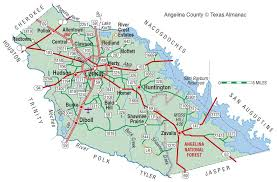 Texas Map By County Angelina County The Handbook Of Texas Online Texas State