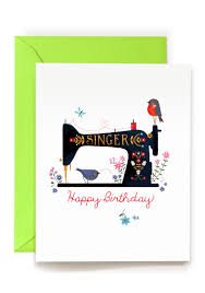 Happy Birthday Wishes For Singer Singer Sewing Machine Illustration Birthday Greeting Card By