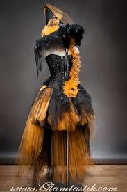 witch from room on the broom costume custom size orange and black feather burlesque corset witch