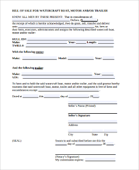 trailer bill of sale sample 9 examples in word pdf