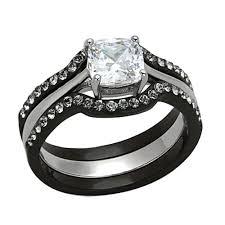 black bridal sets his hers 4 pcs wedding ring set black men titanium cz matching