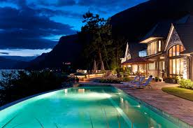 Best Home Swimming Pools Waterfront Infinity Pool At Night In West Vancouver Vancouver U0027s
