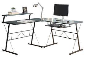 computer desk black metal corner with tempered glass