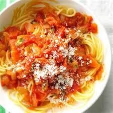 wedding gift spaghetti sauce spaghetti with fresh tomato sauce recipe taste of home