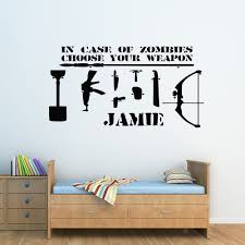 children s wall stickers ebay zombie choose your weapon personalised boys name childrens wall sticker decal