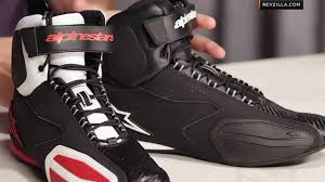 black motorcycle shoes alpinestars faster riding shoes review at revzilla com youtube