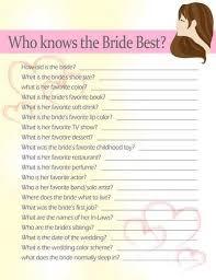 bridal shower question bridal shower 20 questions 99 wedding ideas