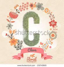 monogram websites vintage floral monogram made green leafs stock vector 232740685