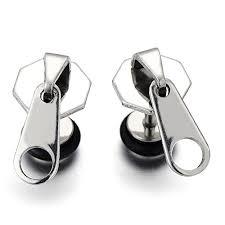 boys earrings 2pcs funky zipper stud earrings in stainless steel for men women