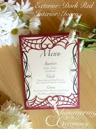 spider web laser cut menu card pocket gothic heart halloween