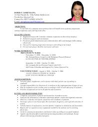 Sample Resume Format For Zoology Freshers by Resume Writing With Volunteer Experience