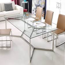 Dining Room Glass Tables Calabria Stainless Steel And Glass Dining Table Kuykendall