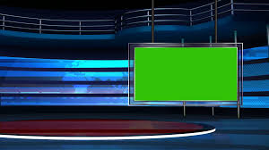 Green Tv News Tv Studio Set 23 Virtual Green Screen Background Loop Stock