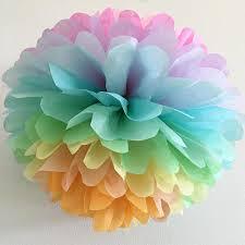 pastel rainbow tissue paper pompom unicorn decorations