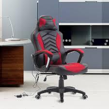 homcom ergonomic massage office chair heated vibrating swivel