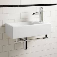 Wall Mount Bathroom Sinks by Compact Square Ceramic Vessel Or Wall Mounted Bathroom Sink Small