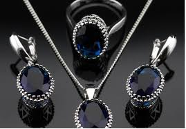 blue sapphire necklace set images Oval blue sapphire jewelry sets for women 925 silver necklace jpg