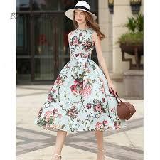light blue tank dress bunniesfairy 2017 vintage floral leave print high waist tank dresses