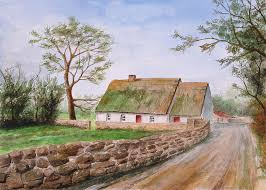 Thatched Cottage Ireland by Traditional Irish Thatched Cottage Painting By Jeno Futo