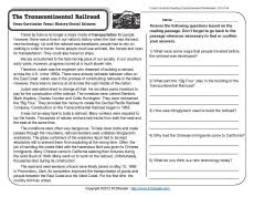 transcontinental railroad 4th grade reading comprehension worksheet