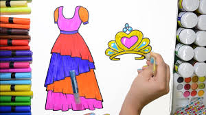 draw and color princess dress crown coloring page and learn
