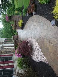 Patio And Walkway Designs by Exterior Modern Design Combining Materials Of Cement Walkways