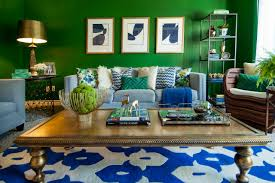 Greenliving by Beautiful Blue And Green Living Room For A Midsized Beach Style