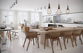 white saddle mixed light brown wooden table scandinavian dining