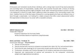 Insurance Agent Resume Sample by Claims Adjuster Resume Objective Reentrycorps