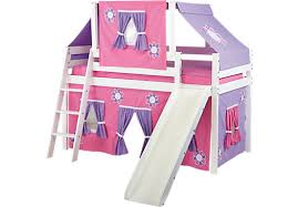 Pink Cottage White Jr Tent Loft Bed With Slide And Top Tent - Girls bunk beds with slide