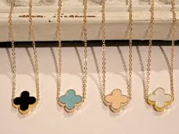 clover chain necklace images Gold van cleef arpels designer inspired clover necklace black jpg