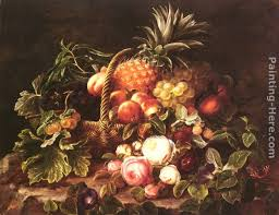 basket of fruit johan laurentz a still of a basket of fruit and roses