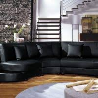 furniture black leather l shape sofa with arms and back using