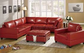 red bonded leather 5pc modular sectional sofa w storage ottoman
