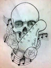 guitar skull and roses tattoos