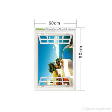 removable 3d wall stickers beach sea window view decor sea picture