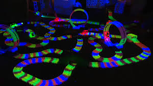 light up car track as seen on tv twister trax glow track accessory set w bridge tunnel on qvc