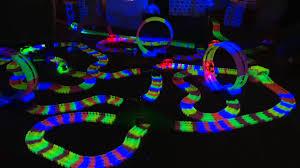as seen on tv light up track twister trax glow track accessory set w bridge tunnel on qvc