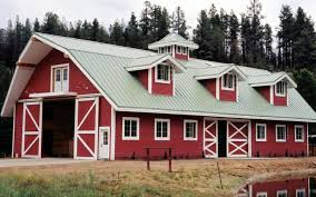 Gambrel Roof Barns Red Barn With Gray Metal Roof And White Windows Http Www