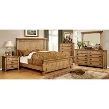 pioneer rustic oak finished queen bed