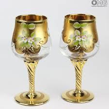 set bicchieri set di 2 bicchieri tre fuochi cristallo you me vetro di murano