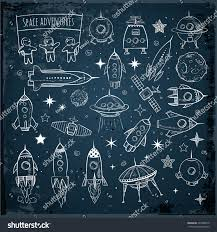 collection sketchy space objects on dark stock vector 335388410