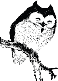 clipart owl black and white clipart of a perched owl