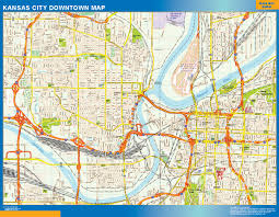 Kansas Map World Wall Maps Store Kansas City Downtown Map More Than 10 000
