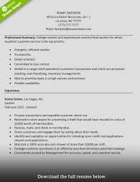 Internship Resume Sample For College Students How To Write A Perfect Cashier Resume Examples Included