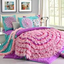 Girls Bedding Purple by Beautiful 6 Piece Lace Ruffle Bedding Set Places To Sleep